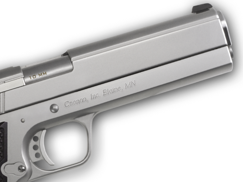 """Coonan MOT 10mm, 5"""", Satin Stainless, Fixed White Dot Sights, Black Alum Grips, 1 Mag (Special Order)"""