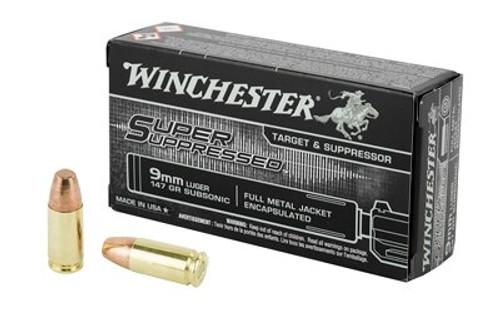 Winchester Super Suppressed 9mm 147gr, FMJ, 50rd Box