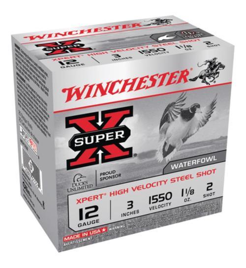 "Winchester Expert Hi-Velocity 12ga, 3"", 1.125 oz, 2 Shot, 25rd/Box"
