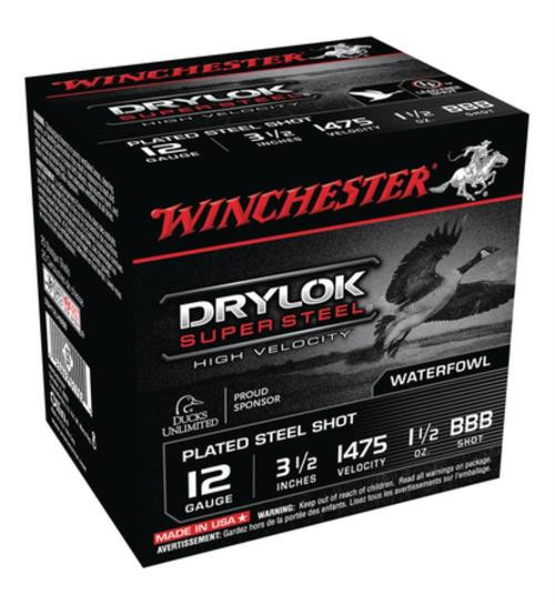 "Winchester Drylok Super Steel High Vel 12 Ga, 3.5"", 1475 FPS, 1.5oz, BBB Steel, 25rd/Box"