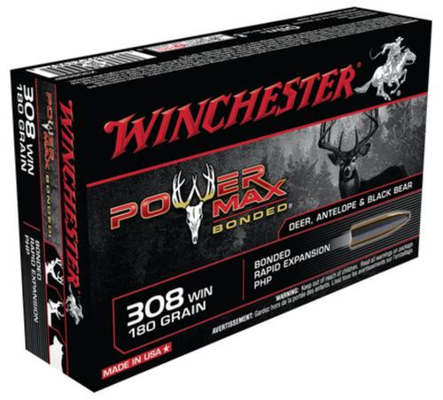Winchester Power-Max .308 Winchester 180gr, Protected Hollow Point Bonded 20rd Box
