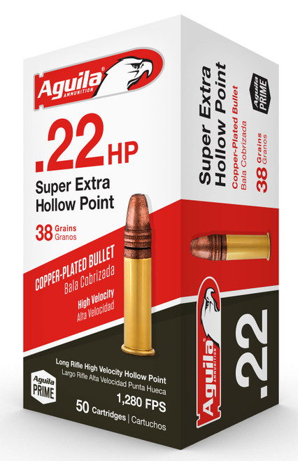 Aguila .22 LR, Super Extra Hollow Point, 38gr, Copper-Plated, 50rd Box