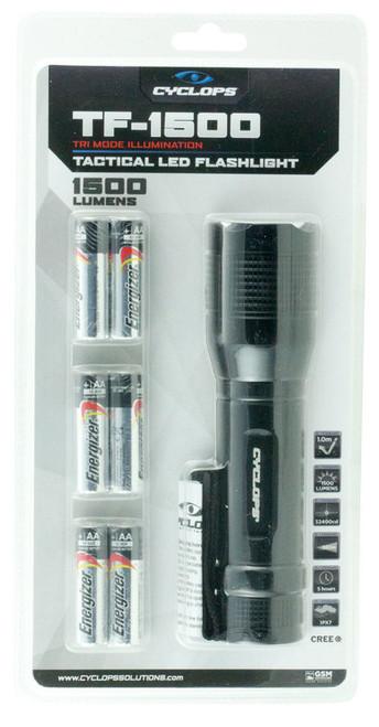 Cyclops Tactical Flashlight 1500 Lumens AAA (6) Aluminum Black