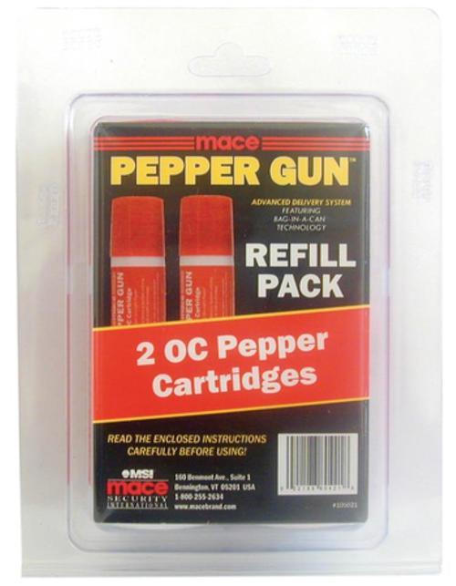 Mace Pepper Gun Refill Cartridges, OC, 2 Pack