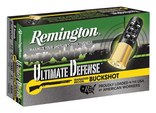 "Remington Ultimate Defense 12 Ga, 2.75"", Buckshot 21 Pellet, 5rd/Box"