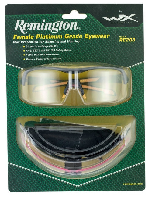 Remington Wiley X RE 203 Shooting/Sporting Glasses Women Black/Pink Frame Clear