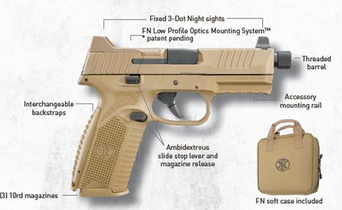"FN 509 Tactical 9mm, 4.5"" Barrel, Flat Dark Earth, 3 Dot Night Sights, 3x10rd Mags"