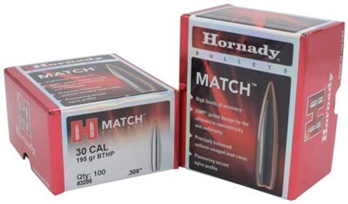 Hornady Match Bullets .308 Diameter 195gr, Boattail Hollow Point, 100/Box