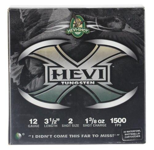"HEVI-Shot Hevi-X Waterfowl 12 Ga, 3.5"", 1-3/8oz, 2 Shot, 25rd/Box"