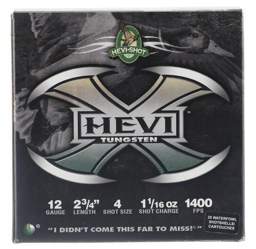 "HEVI-Shot Hevi-X Waterfowl 12 Ga, 2.75"", 1-1/16oz, 4 Shot, 25rd/Box"