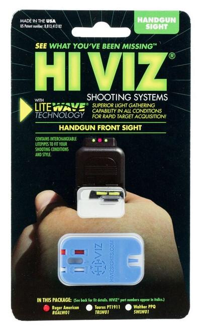 Hiviz LiteWave Ruger American Green/Red/White Front Black