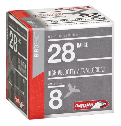 "Aguila Hunting High Velocity 28 Ga, 2.75"", 3/4oz, 8 Shot, 25rd/Box"