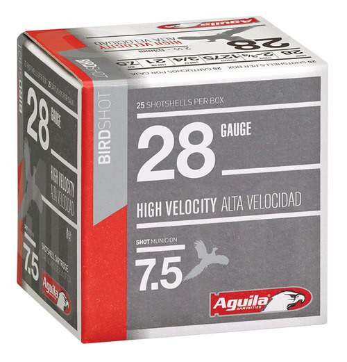 "Aguila Hunting High Velocity 28 Ga, 2.75"", 3/4oz, 7.5 Shot, 25rd/Box"
