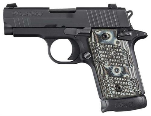 *D*Sig P938 9MM 3IN Extreme Black SAO Siglite Black/Gray G10 Grip (1) 7RD Steel MAG Ambi Safety