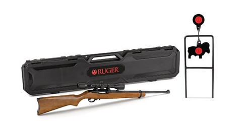 "Ruger 10/22 Carbine Shooters Package 22LR 18.5"" Barrel -W/Rifle, Scope, Target and Haed Case"