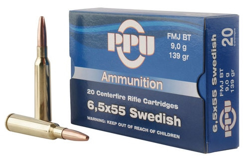 PPU Metric Rifle 6.5x55 Swedish 139gr Full Metal Jacket, 20rd Box