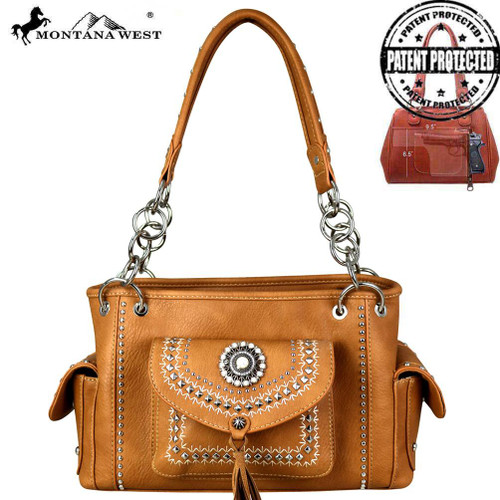 Montana West Concho Collection Concealed Carry Satchel (Brown)