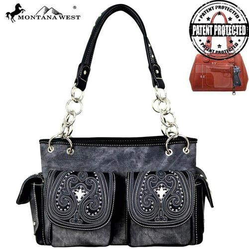 Montnana West Embroidered Collection Concealed Carry Satchel - Black