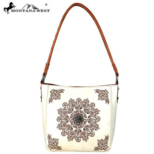 Montana West Aztec Collection Concealed Handgun Hobo Bag - Beige