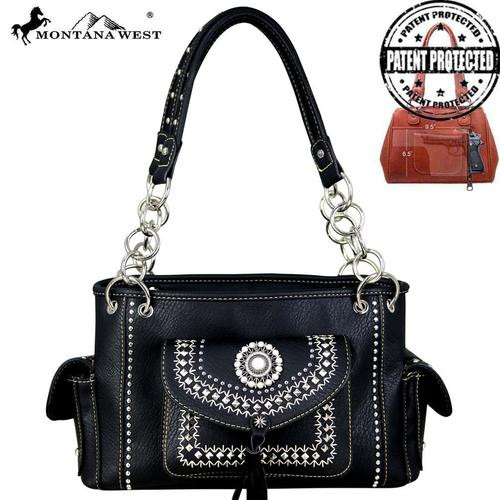 Montnana West Concho Collection Concealed Carry Satchel - Black