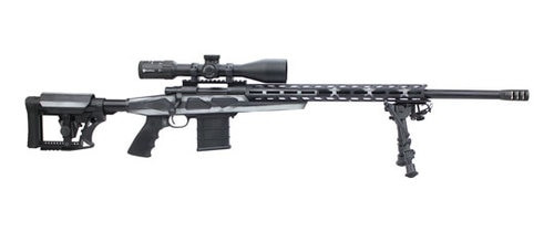 "Howa 1500 Rifle & Scope Package 6.5 Creedmoor, 24"" Heavy Threaded Barrel, 4x16-50 Diamond Scope, Black, Gray & White American Flag, Bipod, 10rd"