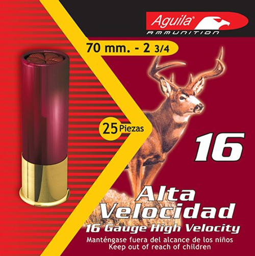 "Aguila Field High Velocity 16 Ga, 2.75"", 1-1/8oz, 1 Buck, 25rd/Box"