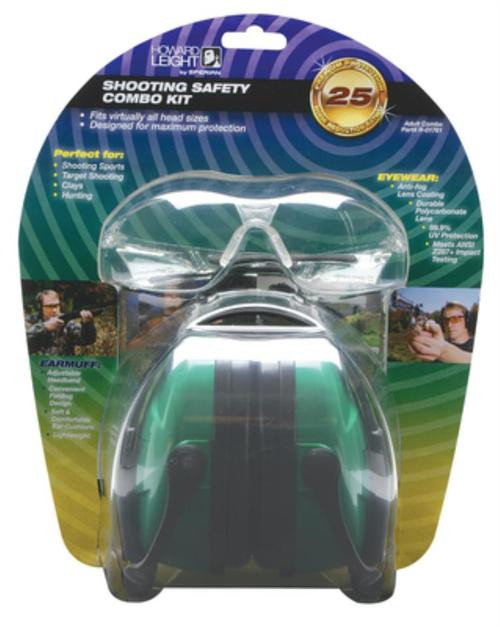 Howard Leight Shooting Safety Combo Kit Includes Green Earmuff (NRR25) And Clear Protective Eyewear