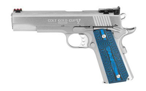 "Colt Gold Cup Lite 1911 45 ACP, 5"" Barrel, SS Brushed Finish, G10 Grips, 8Rd, Fiber Optic Front Sight"