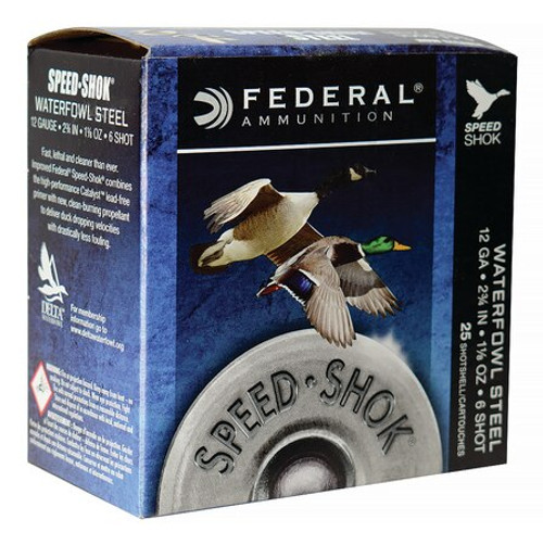 "Federal Speed-Shok 12 Ga, 2.75"", 1-1/8oz, 6 Shot, 25rd/Box"