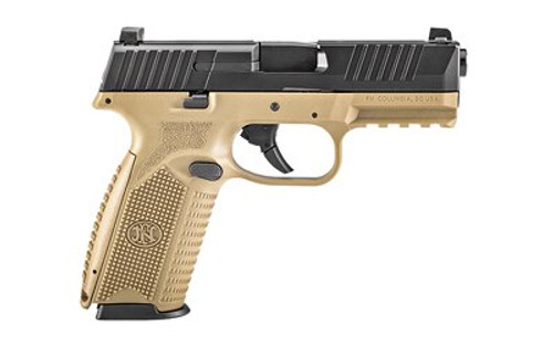 """FN 509 NMS Full Size 9mm, 4"""" Barrel, Flat Dark Earth/Black, No-Manual Safety, 3 Dot, 2x17rd Mags"""