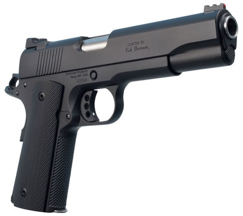 """Ed Brown Special Forces1911, Full Size, 45ACP, 5"""" Barrel, G10 Grips, Black, Thumb Safety, .156 U-Notch Rear Sight, Orange HD XR Front Sight, Recessed Slide Stop, Flattened and Serrated Top of Slide, 7Rd, 2 Magazines"""