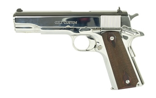 "Colt Government 1911, 45 ACP, 5"" Barrel, Steel Frame, Bright Stainless Finish, 7Rd Mag, White Dot Sights"