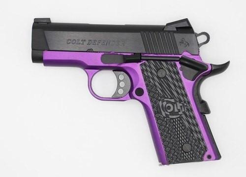 """Colt Violet Defender Purple Cerakote 45 ACP 4.25"""" Barrel Novak Sights G10 Grips 1 of 200"""