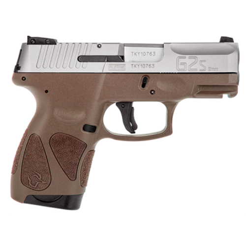 "Taurus G2S Slim 9mm 3.25"" Barrel Brown Polymer Grip, SS Slide 7rd Mag"