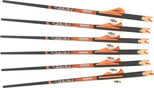 "RAVIN XBOW ARROW CARBON, 2"" OFFSET VANES 400GR .003"" 6PK"