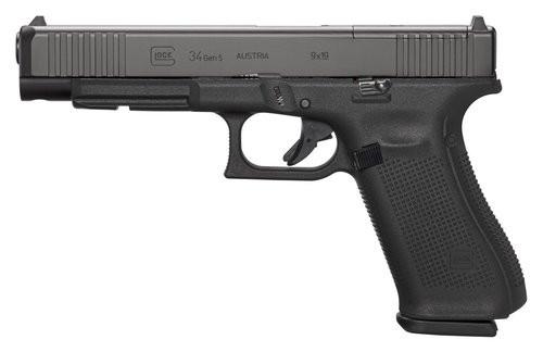"Glock G34 9mm Gen 5 MOS, 5.3"", 17rd, Adjustable Sights, Front Serrations"