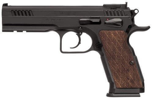"EAA Witness Stock III 9mm, 4.75"" Barrel, Steel, Blue, Wooden Checkered, 17rd"