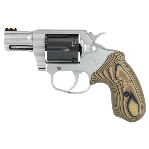 "Colt Cobra 38 Special, 2"" Barrel, SS, Black DLC Cylinder, Fiber Optic Sights, VZ Hyena Brown Grips, 6rd"