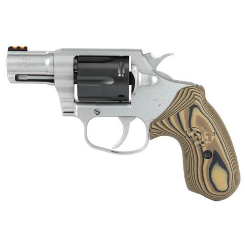 """Colt Cobra 38 Special, 2"""" Barrel, SS, Black DLC Cylinder, Fiber Optic Sights, VZ Hyena Brown Grips, 6rd"""