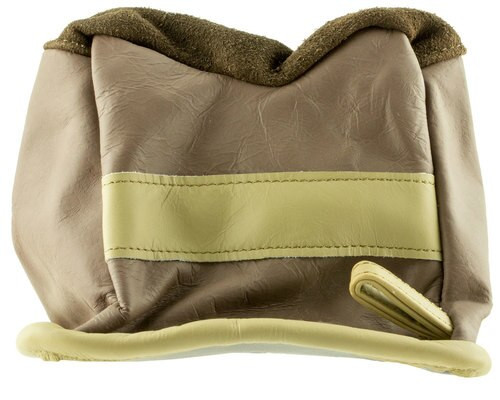 BenchMaster American Bison Shooting Bag, Grey Leather, Front Bag, Unfilled