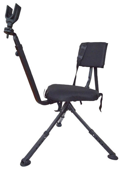 BenchMaster Hunting And Shooting Chair, Adjustable Leg, Swivel Seat, Black
