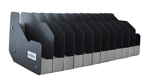 "BenchMaster WeaponRac 12 Pistol Rack, 6.875"" x 8.5"" x 19.375"",  Black Metal"
