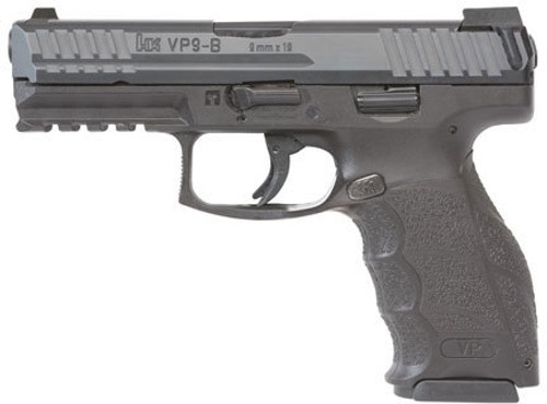 "HK VP9-B 9MM, 4"" Barrel Black, 3 Dot Sights, Push Button Mag Release, 2x15rd Mags"