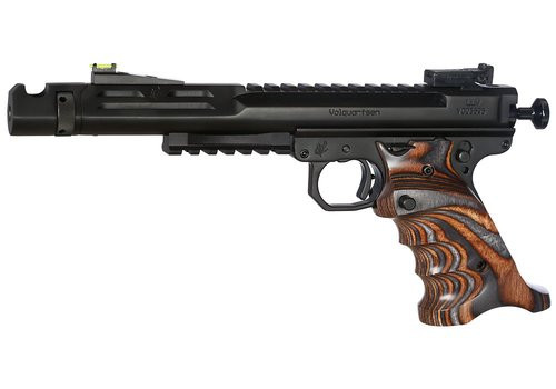 "Volquartsen Scorpion .22 LR, 6"" Barrel, Target 22 Frame, Hi-Viz Front & Target Rear, Brown/Gray Grips, Black Stainless"