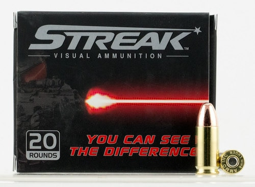 Ammo Inc. Streak 9mm Tracer Ammunition, 147 gr. Total Metal Jacket, 20rd Box