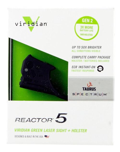 Viridian Weapon Technologies, Reactor 5 Gen 2, Green Laser, Fits Taurus Spectrum, Includes ECR Ambi Inside Waistband Holster