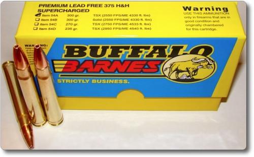 Buffalo Bore Ammo Premium 375 H&H Mag Barnes TSX Boat Tail 300gr, 20rd Box
