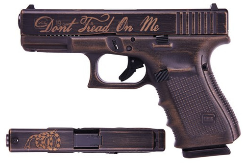 "Glock 19 Gen 4 Don't Tread On Me Special Edition 9mm 4"" Barrel Cerakote 3- 15rd Mags"