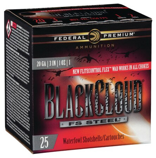 "Federal Premium Black Cloud FS Steel 20 Ga, 3"", 1350 FPS, 1oz, 1 Shot, 25rd/Case"