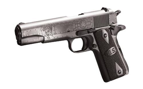 "Auto Ordnance, Victory Girls 1911, Full Size Pistol, 45 ACP, 5"" Barrel, Steel Frame, Checkered Wood Grips with U.S. Logo, 7Rd, Armor Black and Gunmetal Gray Cerakote Finish"